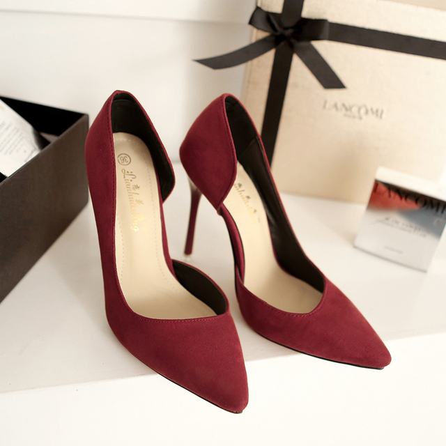Two-Piece Pointed Toe Suede High Heels Fashion Sexy High Heel Shoes Women Pumps wedding shoes Pumps 7 colors side empty