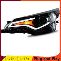 Car Front Lamps for Toyota Levin headlights 2014 2015 Bi Xenon Lens Double Beam HID Head light