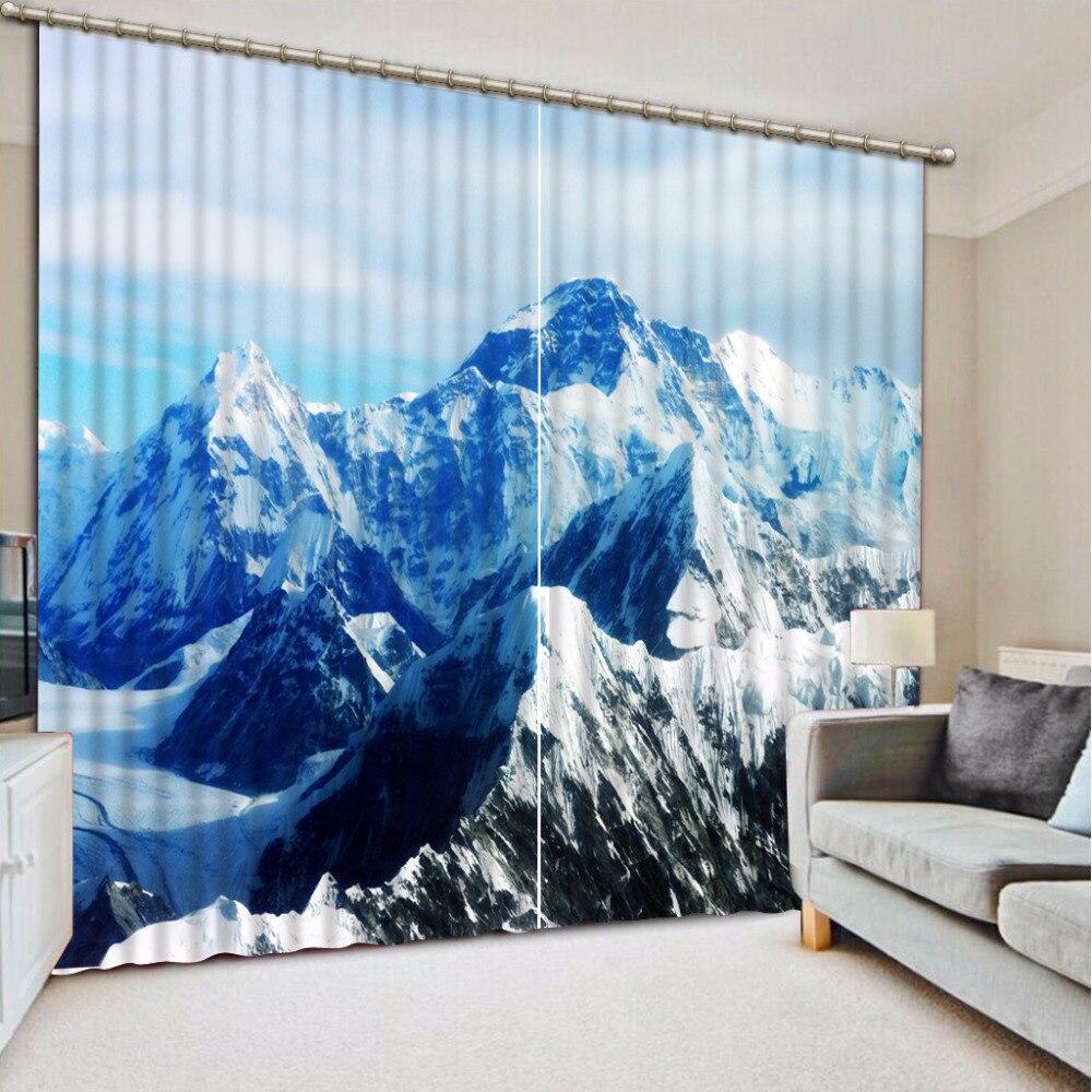 3D Curtain Blackout Shade Window Curtains Snow Mountain Landscape Curtains For Living Room 3D Bathroom Shower Curtain