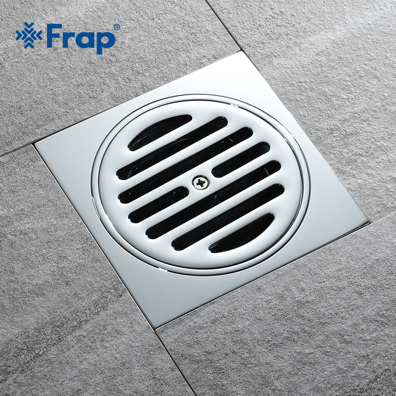 Frap New Square Shower Drain Bathroom Grate Floor Drain Chrome Brass Waste Drain Cover Hair Shower Catcher Clean Strainer Y38103 modern new oil rubbed bronze bathroom shower square floor drain washer grate waste drain 4 page 1
