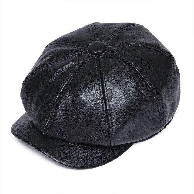623b011ffb271 VOBOOM negro cuero genuino mono de las mujeres de los hombres transpirable  8 Panel sombrero taxista Gatsby chico Baker Caps Boina 115