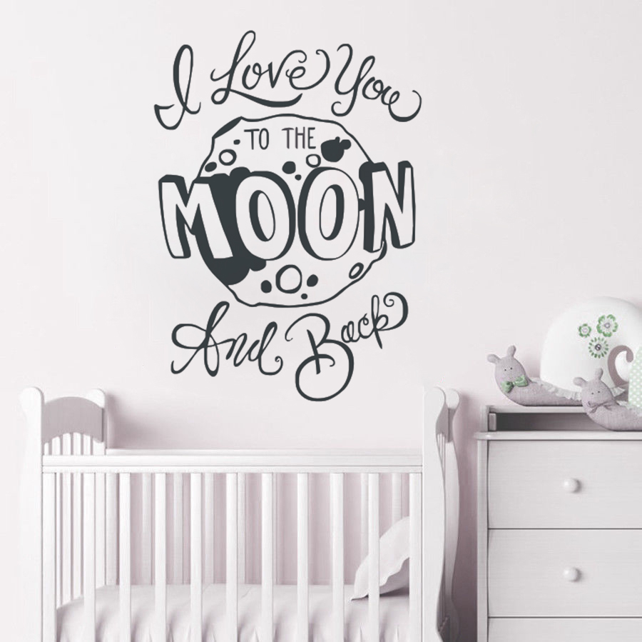 I Love You Quotes: Nursery Quote Wall Sticker I Love You To The Moon And Back
