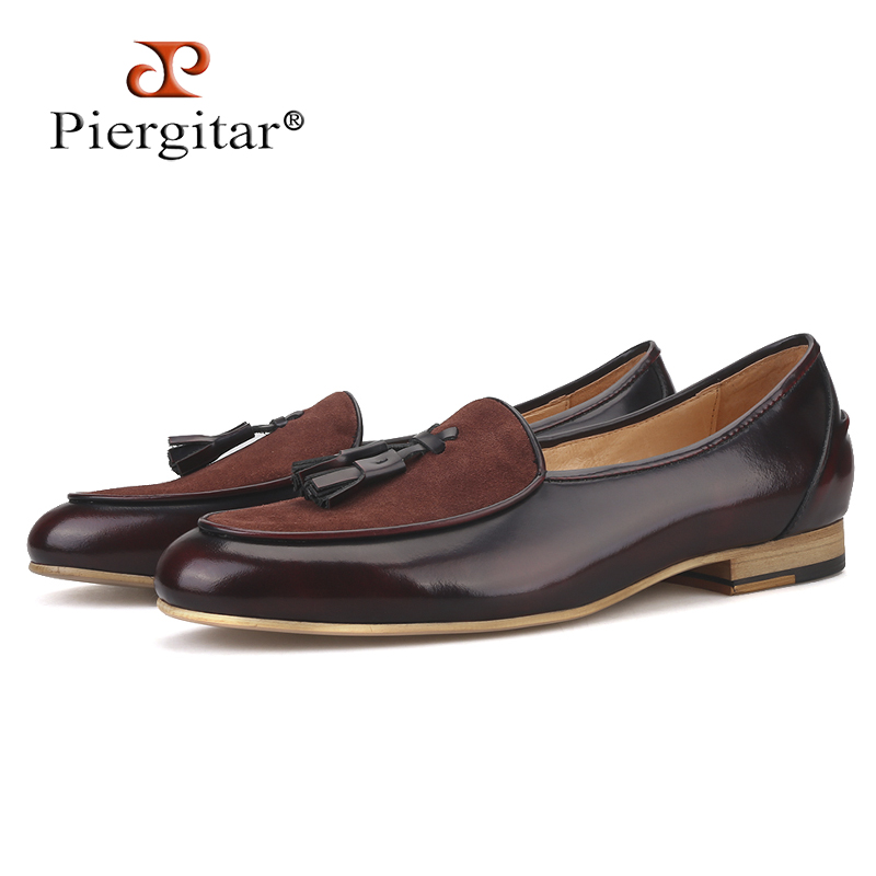 Piergitar brand 2019 Handmade leather men tassel loafers Fashion Men Casual Shoes party and banquet smoking