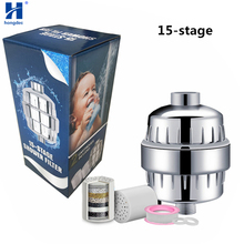 Hongdec 15 Stage Shower Water Filter Purifier with 2 Replaceable Cartridges chrome