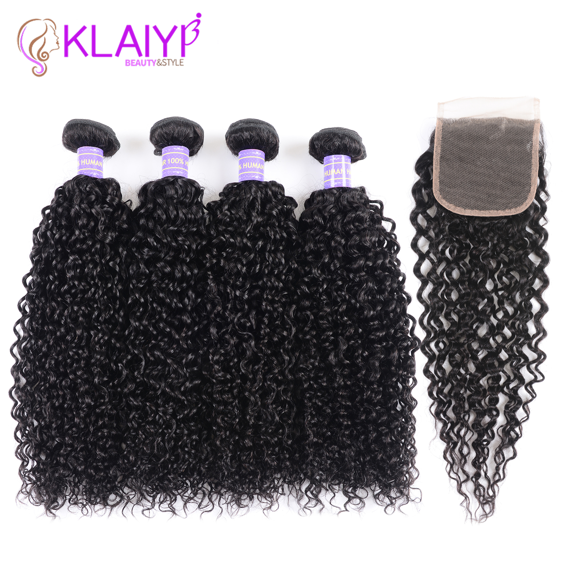 Klaiyi Hair Malaysia Curly Hair Bundles with Closure 4PCS Swiss Lace Closure With 3 Bundles Remy