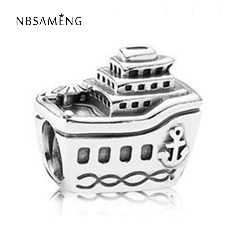 New Free Shipping Sail Boat Silver Plated Bead Charm European Ship Beads Fit Women Pandora Bracelet & Bangle DIY Jewelry H721