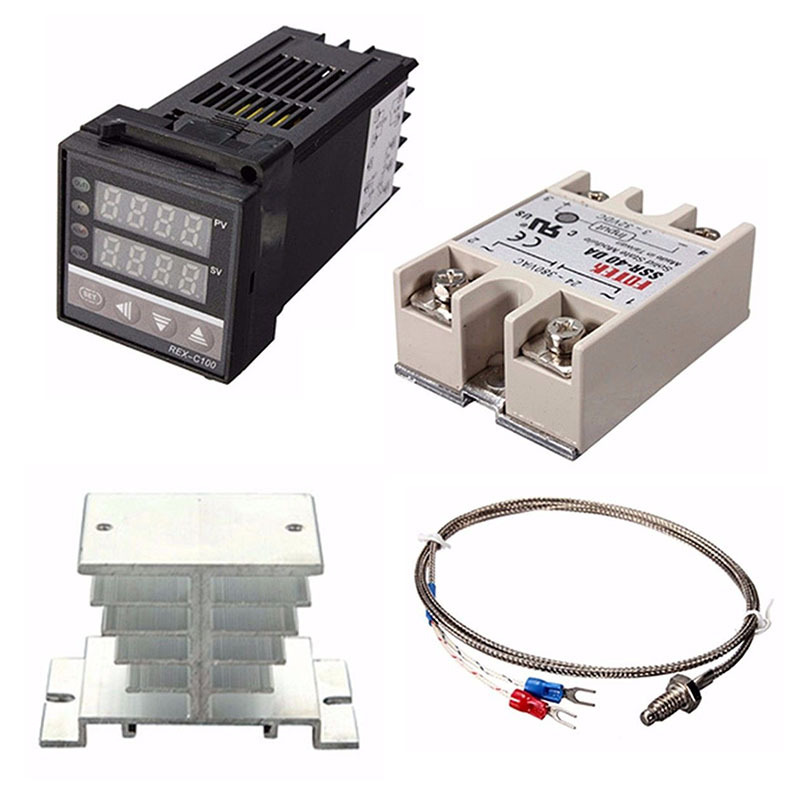 1set Digital Adjustable PID Temperature Controller Panel Thermostat REX-C100+Max.40A SSR+K Thermocouple Probe+ Heat Sink 1kits digital adjustable pid temperature controller panel thermostat pc410 rex c100 max 40a ssr relay k thermocouple probe
