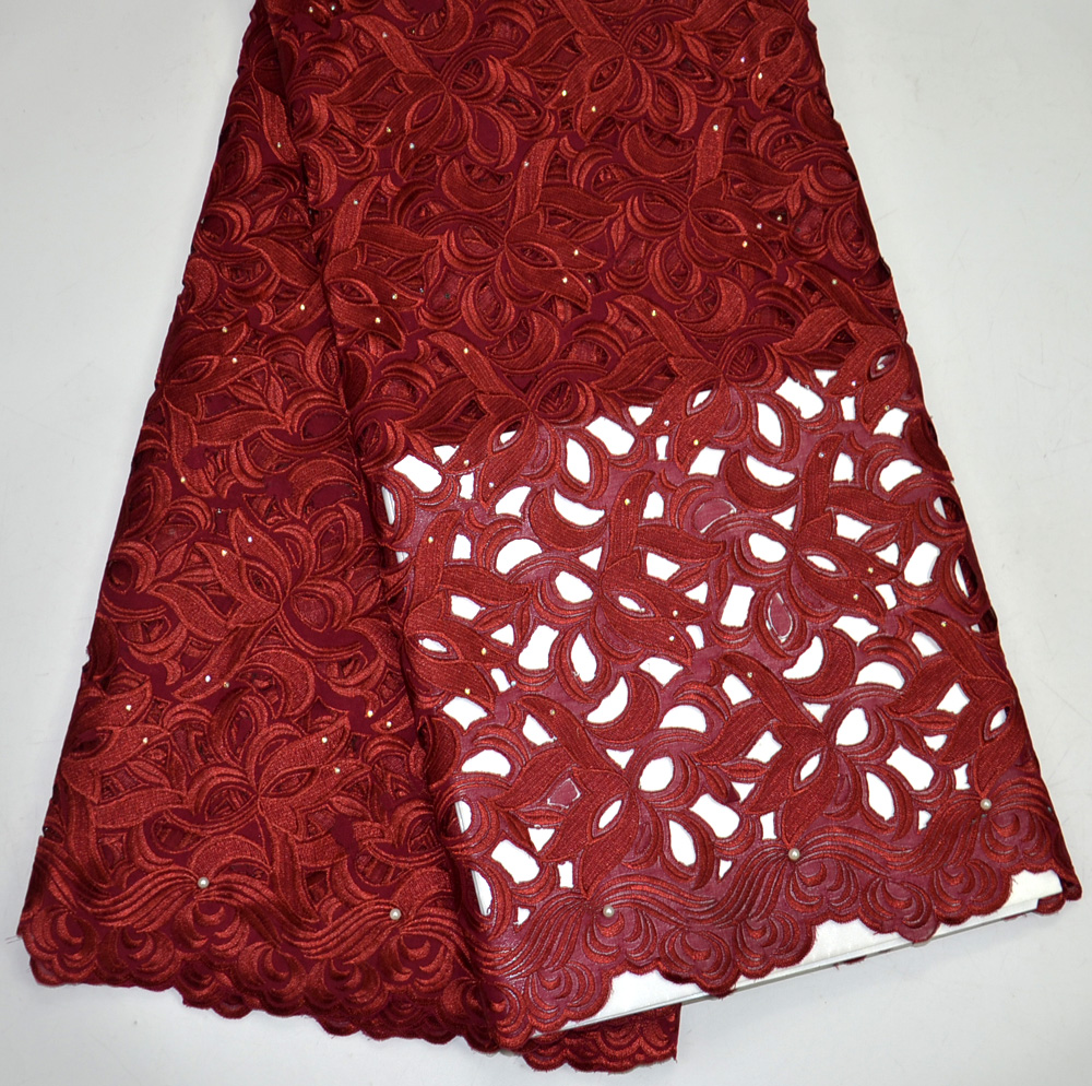 Latest 100% High Quality Maroon African handcut Swiss Voile lace for Nigeria wedding lace fabrics 5 Yards Handcut Big lace