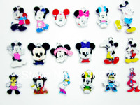 QRT6788! Wholesale100 pcs mixed Mickey Mouse Metal Zinc Alloy Enamel Charms Pendants for Girl Jewelry Craft Making DIY bead