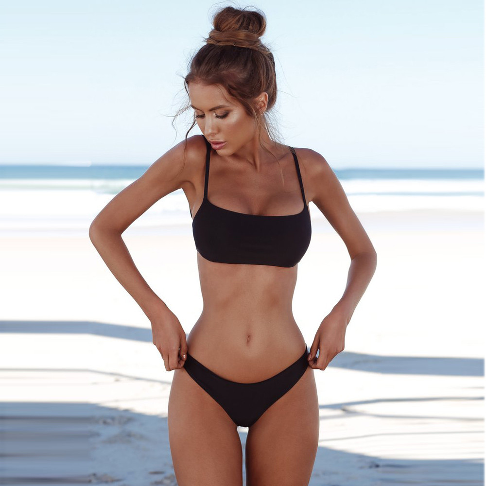 4a6c5845cf 2019 New Summer Women Solid Beachwear Set 3 Colors Push-up UnPadded Bra  Poolwear Triangle