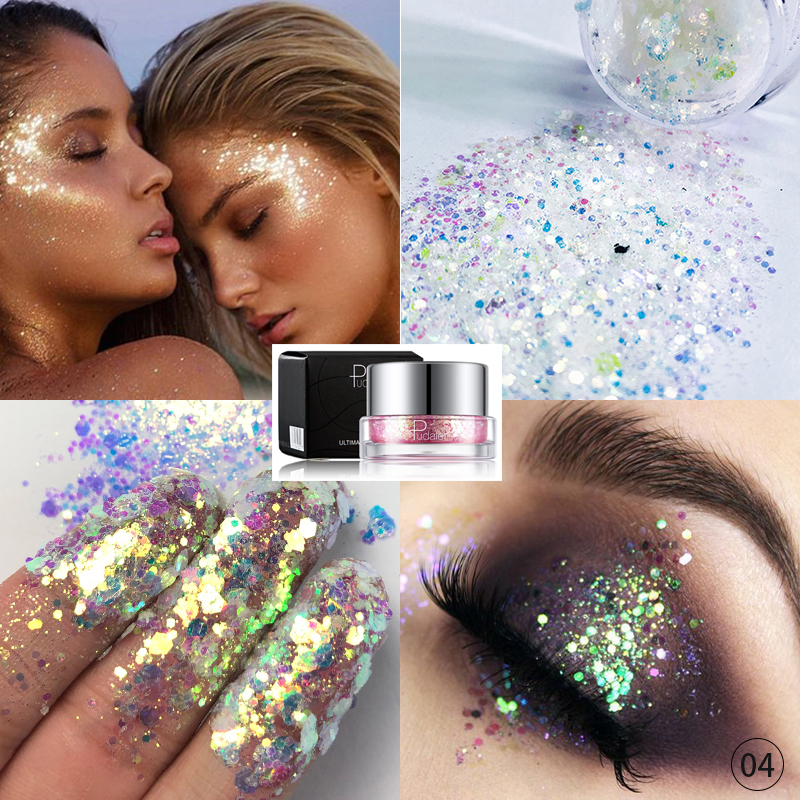 Hot Summer Eyes Sequins Glitters Party Makeup Shining Sequined Colorful Face Eyes Lip Body Glitter Nails Cosmetic High Quality
