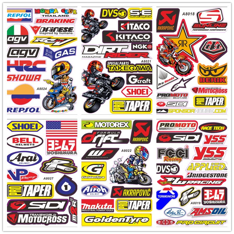 Motocross Racing Helmet Motorcycle Decal Funny Truck Graphic Bike Vinyl Sticker For Honda Yamaha A4 Size Whole Set