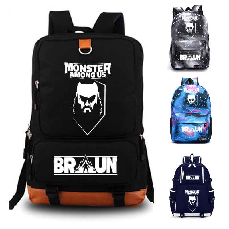 Braun Strowman Monster Among Us School bag Canvas Backpacks School Rucksack Travel Backpack Daily backpack