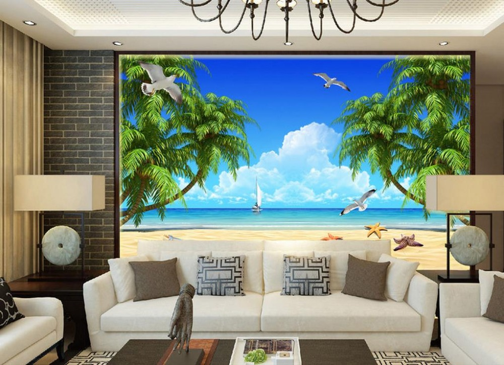 Modern 3D Wallpaper Murals beach aegean scenery Photo Wallpaper Murals For Living room Wall Paper Home Decor murals wall paper modern art top beach deep blue sea water ripples swim dolphins home decor ceiling large wall mural wallpaper