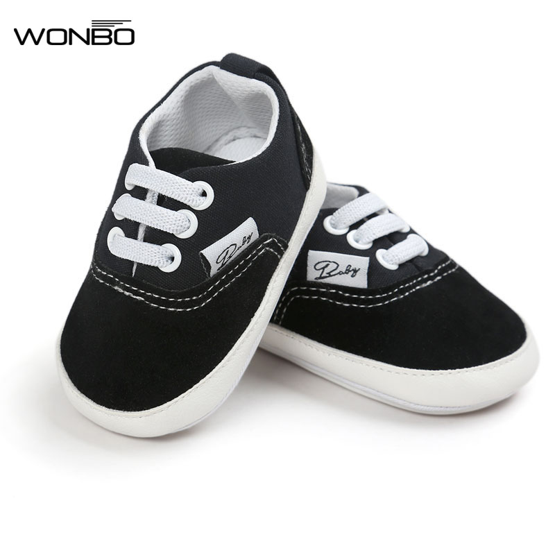 Wonbo Brand New Design Baby Canvas Shoes Lace-up Baby Moccasins Bebe Rubber Soled Non-slip Footwear Crib Sneakers Baby Shoes