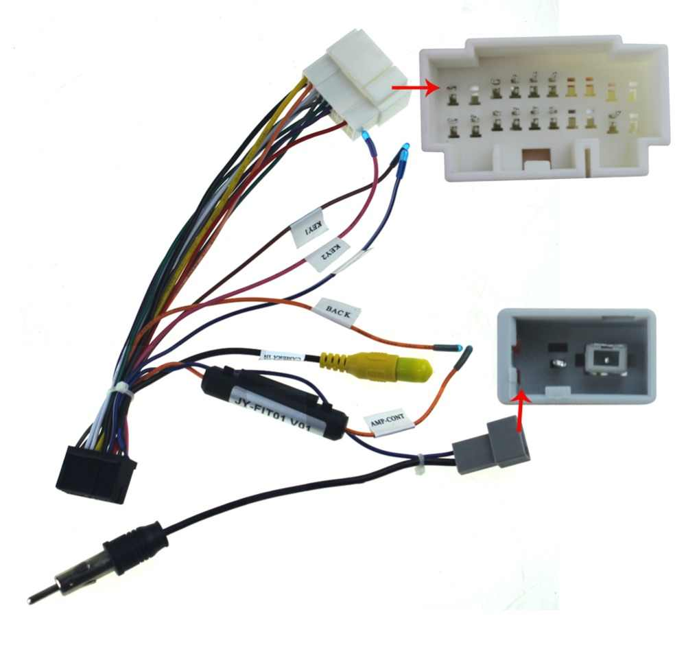Joying wiring ISO harness for Honda Fit car radio power ... on