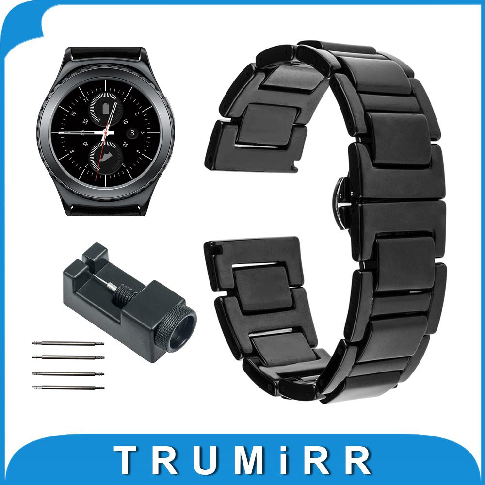 Prix pour 20mm En Céramique Bracelet pour Samsung Gear S2 Classic R732 & R735 Moto 360 2 Gen 42mm Hommes 2015 Smart Watch Band Bracelet Lien Bracelet