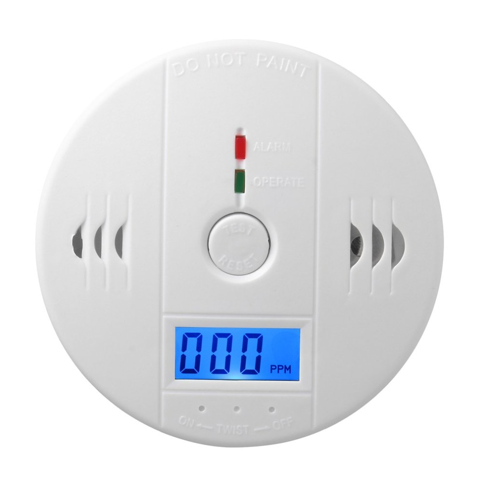 CO Gas Sensor Carbon Monoxide Poisoning Alarm Detector Security 85dB Warning High Sensitive LCD Photoelectric Independent Type