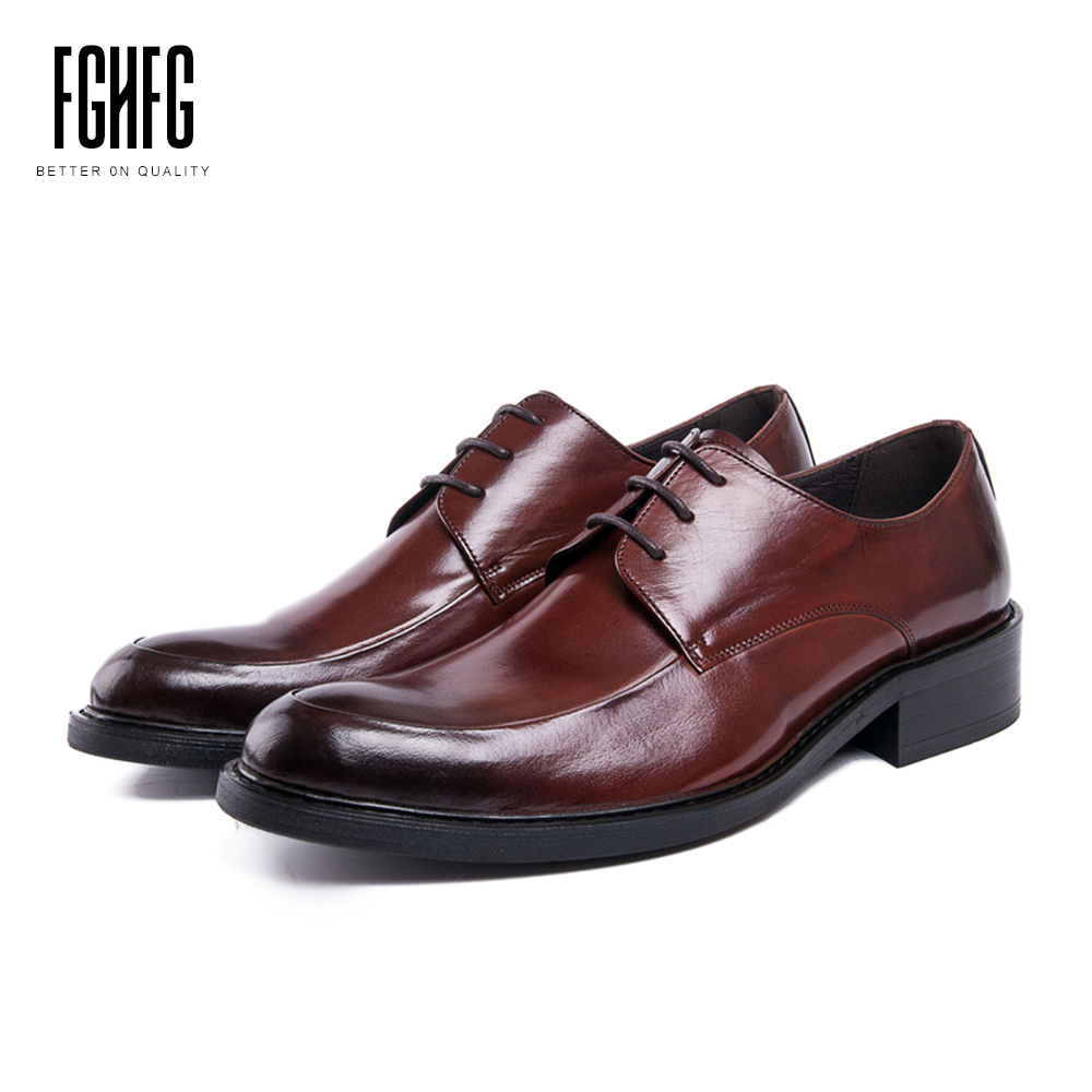 Men's Quality Shoes Genuine Leather Cowhide Leather Pig Inner Round Toe Derby Dress Wedding Business Shoes 2018 New Lace-up classic men s genuine leather shoes cowhide leather pig inner pointed toe derby dress wedding business shoes 2018 fashion