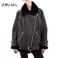 Uwback Women Basic Coats Oversize Bomber Jacket Women Suede Leather Fur Jacket Motorcycle Coat Lambs Wool