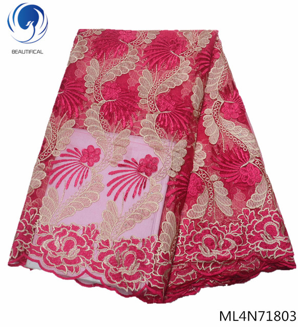 BEAUTIFICAL nigerian lace fabrics 2019 New arrival tow-tone embroidery tulle lace fabric for women dresses 5yards ML4N718