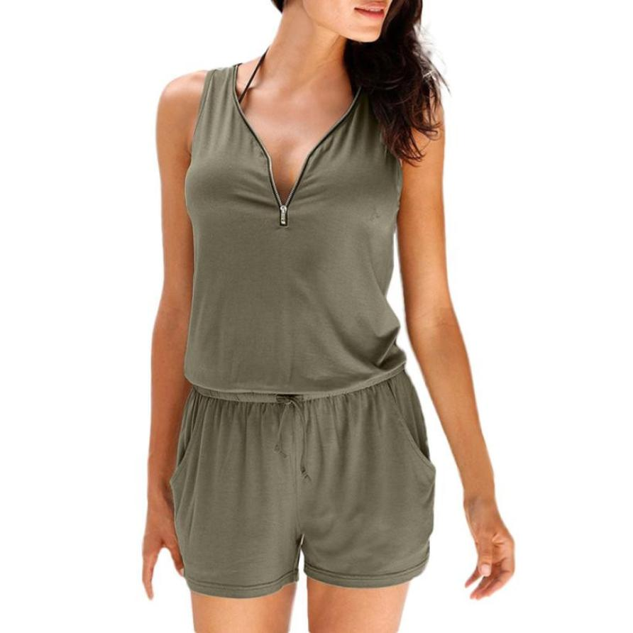 KANCOOLD Jumpsuit Summer Womens Holiday Overalls for Casual Zipper Mini Playsuit Ladies Jumpsuit Summer Beach Rompers 23 MAYO11