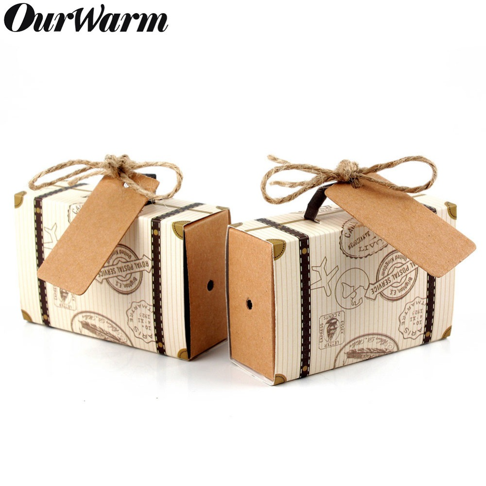 OurWarm Wedding Favors Gift Box Paper Suitcase Travel Candy Bags With Kraft Tag For Guest Birthday Baby Shower Party Decoration
