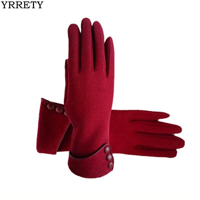 YRRETY Winter New Elegant High-grade Wool Fabric Women Gloves Wrist Button Gloves Thickening Keep Warm Ladies Fashion Gloves