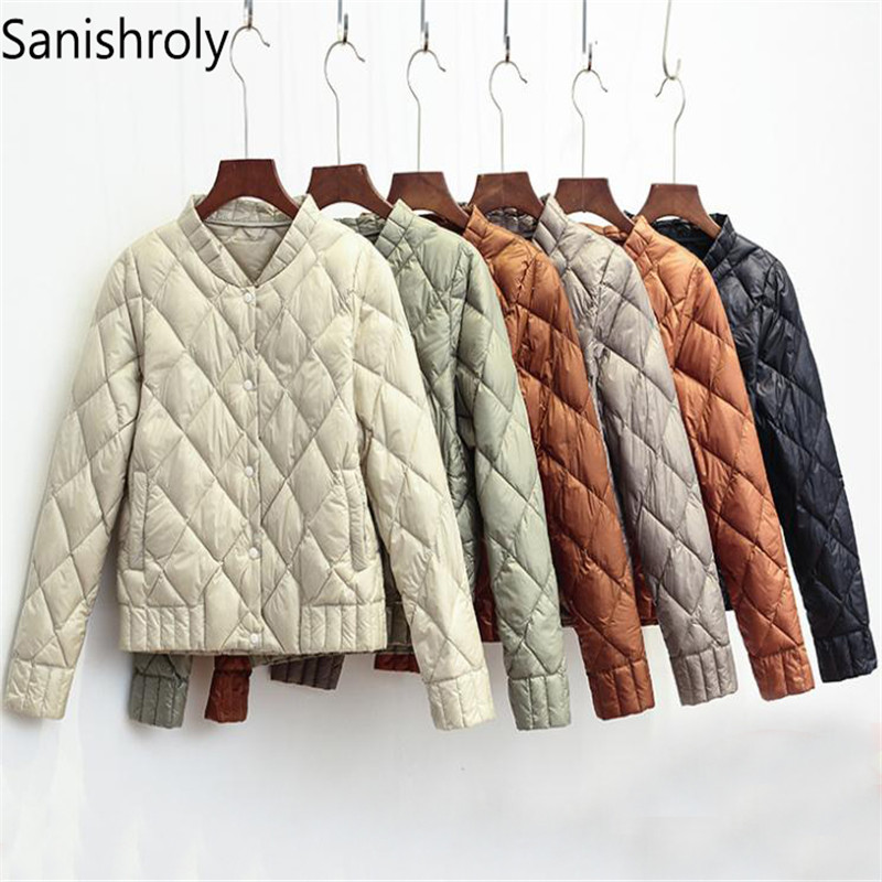 Sanishroly 2018 Women V-Neck White Duck   Down   Jacket Autumn Winter Female Ultra Light   Down     Coat   Parka Plus Size Short Tops SE269