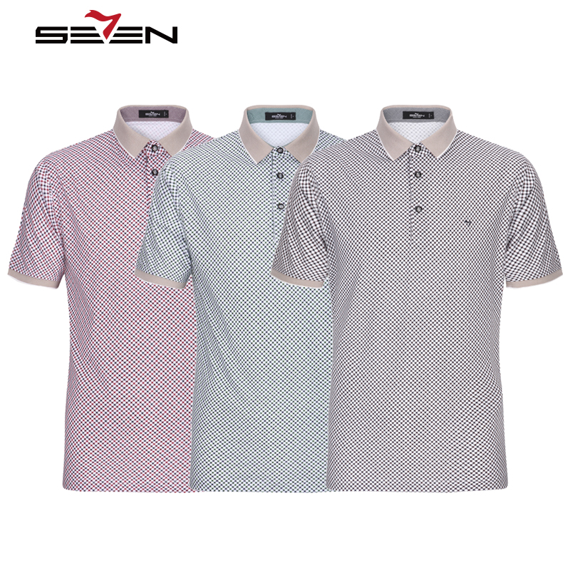 Seven7 Luxury Brand Mens Polo Shirt Slim Fit Cotton Vintage Short Sleeve Summer Plaid Business Casual Male Polos Tops 114T50500