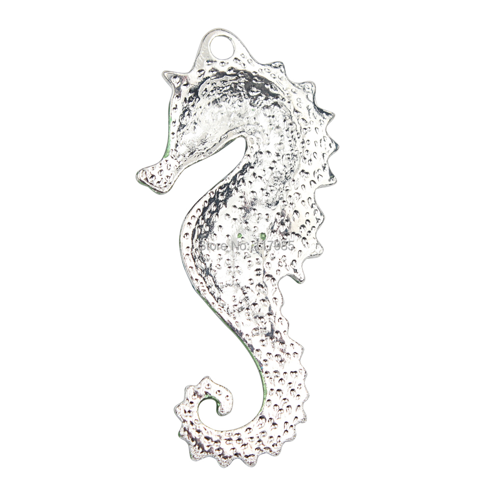 Image 2 - 15pc Fashion Silver Plated Green Crystal Rhinestone Sea Horse Pendant Pop Charms Bead Necklace Making, Kawaii Rhinestone Pendant-in Pendants from Jewelry & Accessories