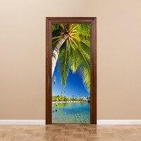 3D 효과 바다 풍경 문 스티커 adheisve 거실 벽 그림 홈 장식 벽 포스