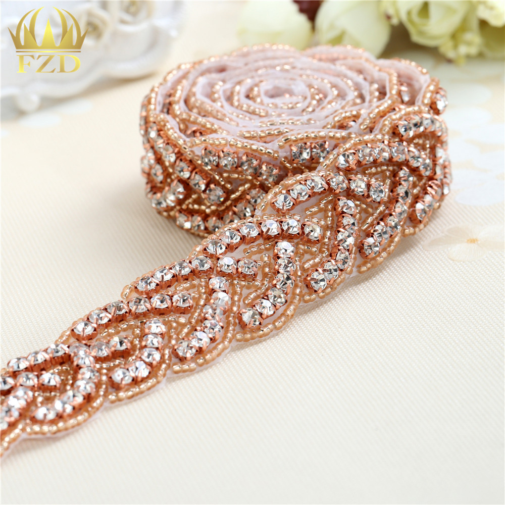 (10yards) Wholesale 1 Yard Sewing On Beaded Hot Fix Rose Gold Applique Rhinestone Trim for Wedding Dresses Bridal Garters Sash-in Rhinestones from Home & Garden    1