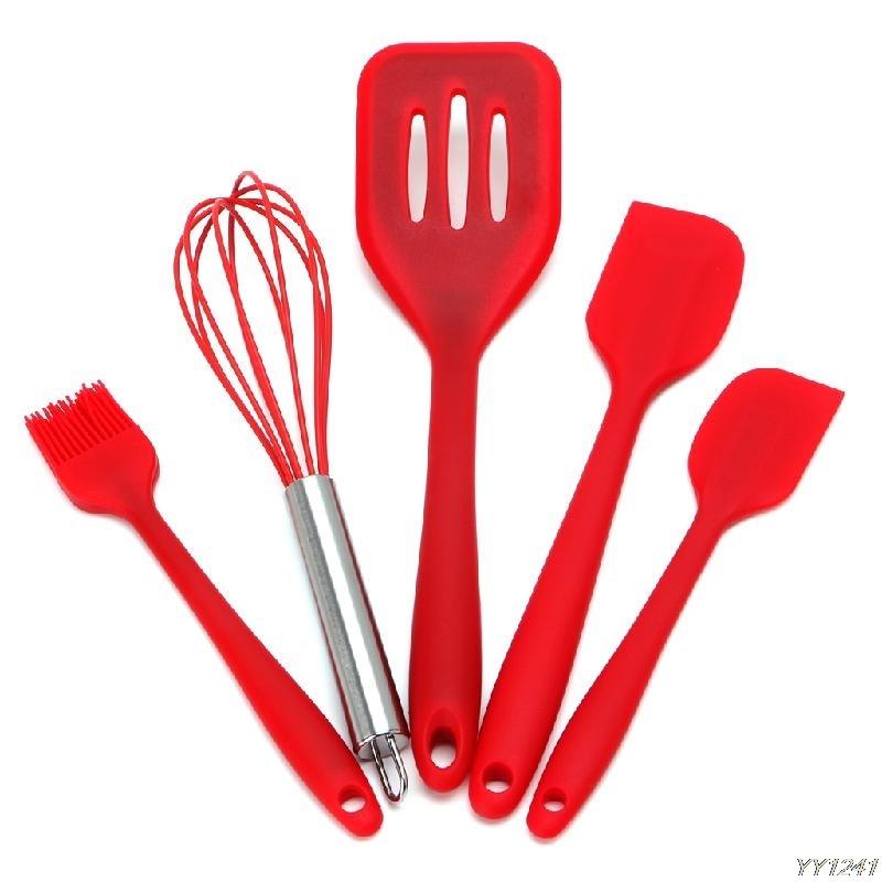 5Pcs Heat Resitant Silicone Kitchen Utensils Set Non-stick Cooking Bakeware Tool Y110-Dropshipping