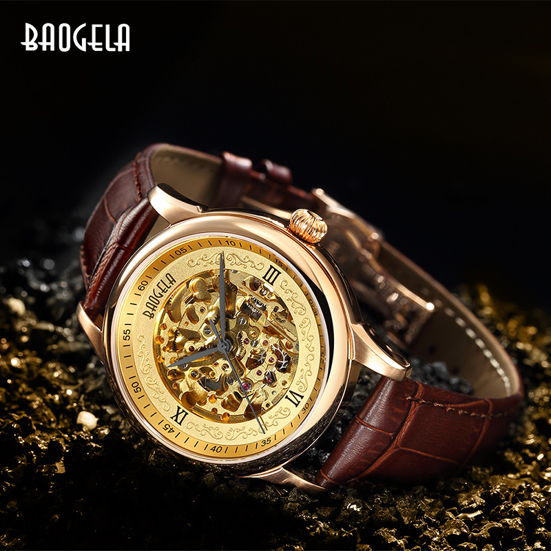 BAOGELA Hollow Skeleton Automatic Mechanical Watches Mens Top Brand Luxury Leather Band Gold Business WristwatchBAOGELA Hollow Skeleton Automatic Mechanical Watches Mens Top Brand Luxury Leather Band Gold Business Wristwatch