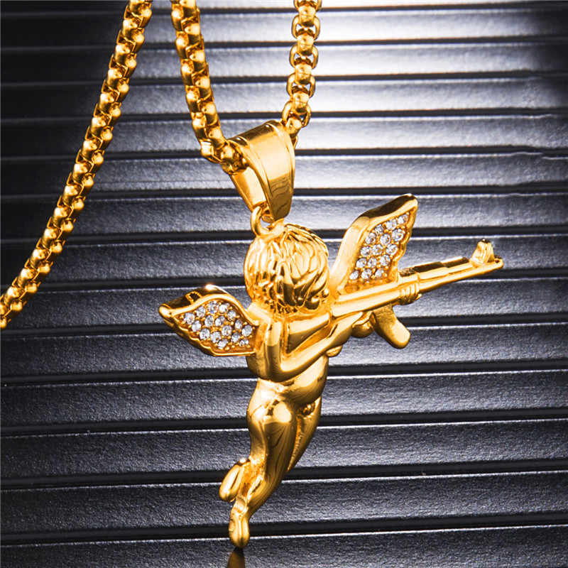 D&Z Stainless Steel Lovely Angel Baby Carry Gun Stuff Pendant Necklace For Men Hip Hop Jewelry Bijoux