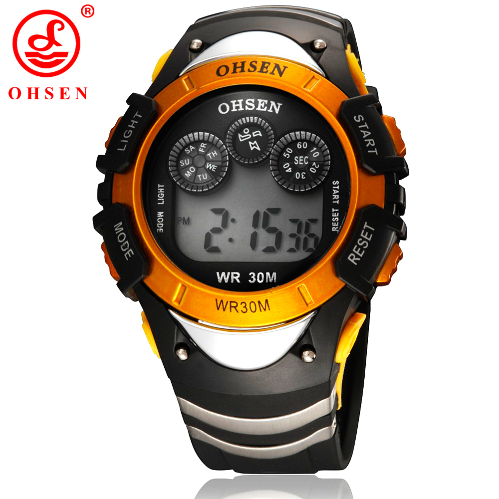лучшая цена Fashion OHSEN Boys Sport Watch Men Alarm Day Date Stopwatch 7 Colors LED Back Light 30M Waterproof Wristwatch Digital Kids Watch