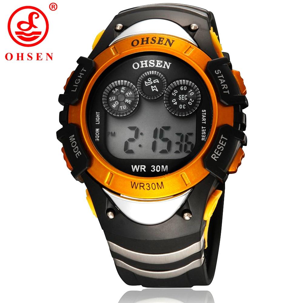 Fashion OHSEN Boys Sport Watch Men Alarm Day Date Stopwatch 7 Colors <font><b>LED</b></font> Back Light 30M Waterproof Wristwatch Digital Kids Watch