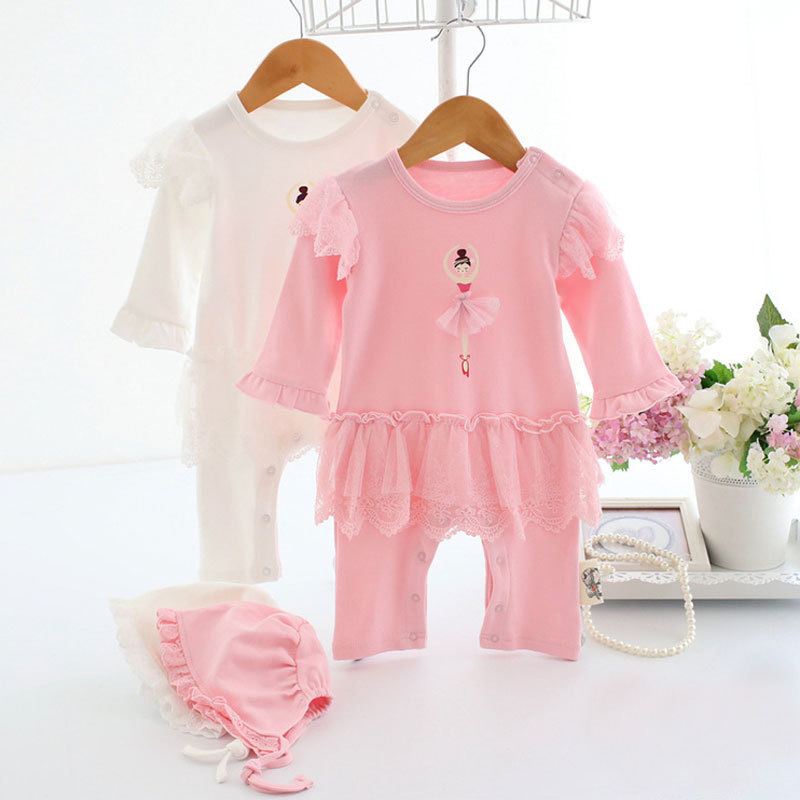 2017 New Baby Girls Dress Romper Hat Newborned 100% Cotton Ballet Dancing Girls pattern Jumpsuit Overalls Outerwear Ins Clothing 2017 new baby romper 100