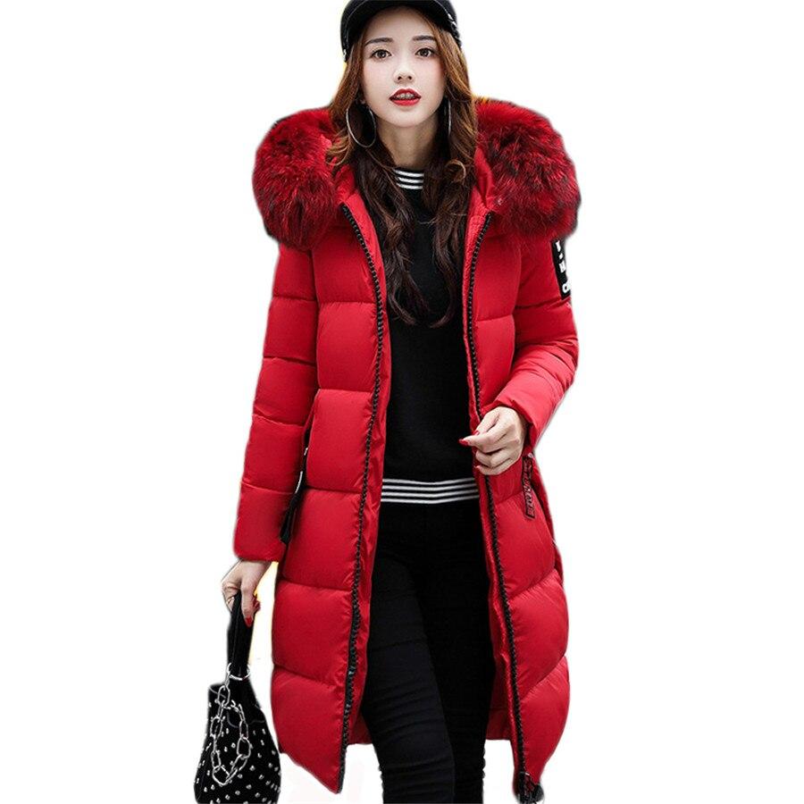 Nouveau 2018 Mode Chaud Hiver Veste Femmes Grande Fourrure Épaisse Mince Femelle Veste D'hiver Femmes Manteau À Capuchon Vers Le Bas Parkas Longue survêtement