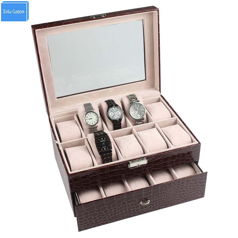 Luxury Case for Brand Watches/Jewelry Display/Storage Time Leather Velvet Window Lock 2 Layer 20 Slots Box Hour Wholesale/Retail spark storage bag portable carrying case storage box for spark drone accessories can put remote control battery and other parts