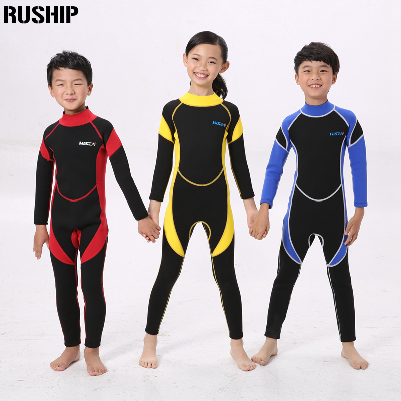 Hisea Kids 2.5mm Warm SCR Neoprene Wetsuits Children's Swimwears Elastic Diving Suit Long Sleeves Boys Girls Surfing Rash Guards