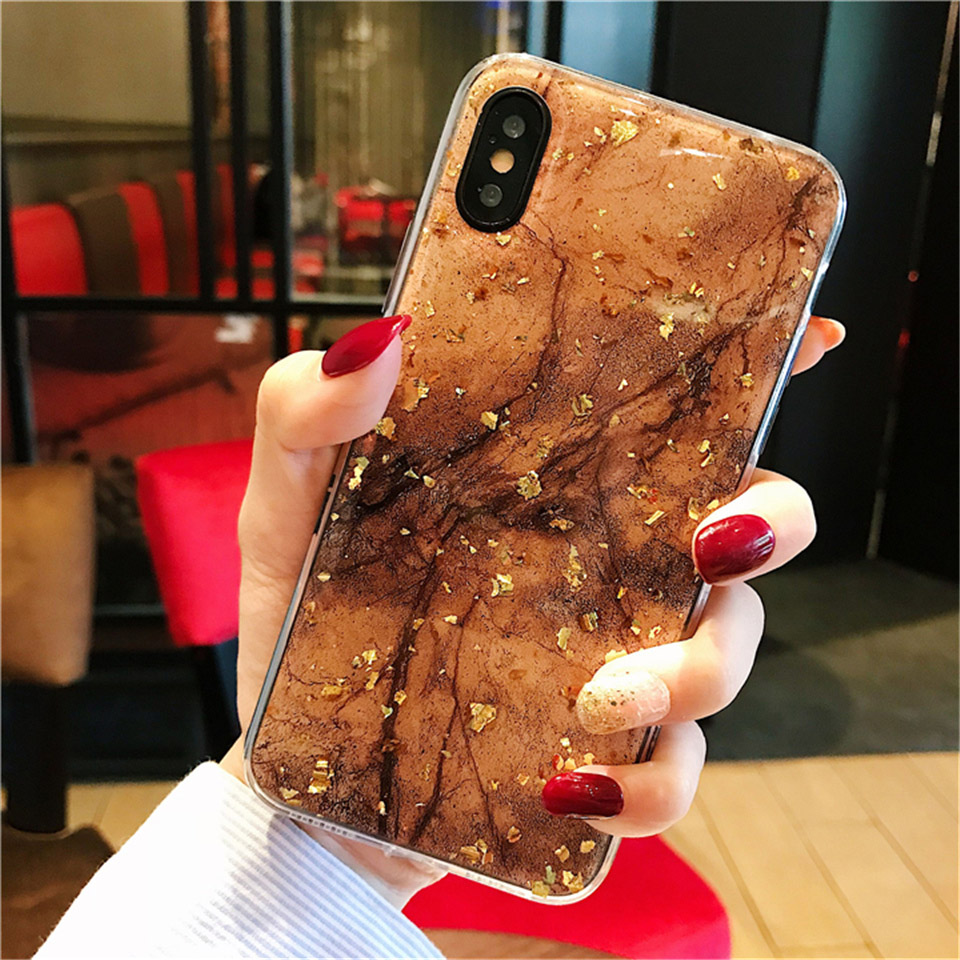 Glitter Gold Foil Marble Soft TPU Phone case For iPhone 11 Pro Max