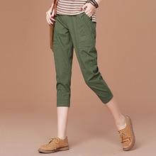 Women's Clothing Accessories Bottoms Pants & Capri Autumn New Cropped pants Cotton Was thin Female Leisure pocket casual pants