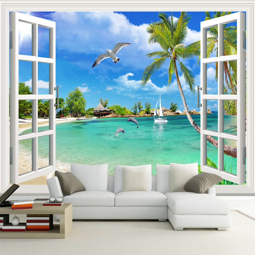 Buy custom photo wallpaper hawaii 3d for Window design wallpaper