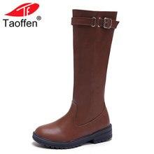 Taoffen Mulheres Botas Até o Joelho Sapatos de Inverno Morno Mulher Botas Cavaleiro Joelho Longo de Inicialização Moda Feminina Calçados Sapatos Tamanho 34 -43