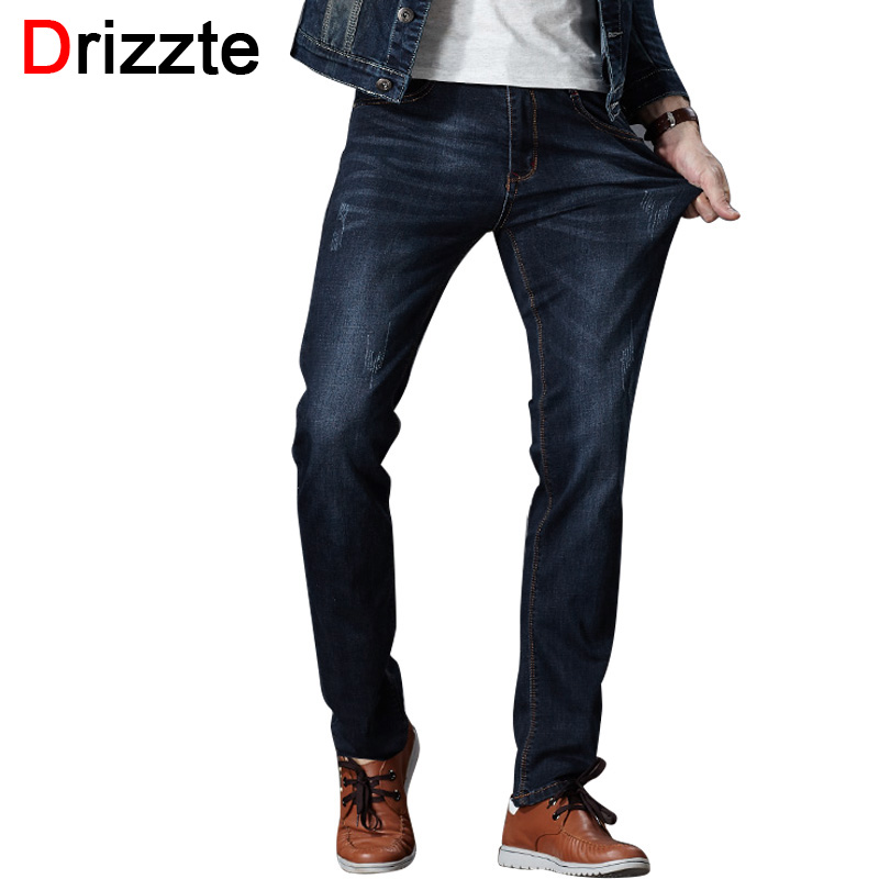 Drizzte Mens Jeans Stretch Denim Jean Plus Size 32 34 35 36 38 40 42 44 46 Pants Trousers Designer Slim Fit Jeans For Men drizzte men s jeans classic stretch blue denim business dress straight slim jeans size 34 35 36 38 pants trousers jean for men