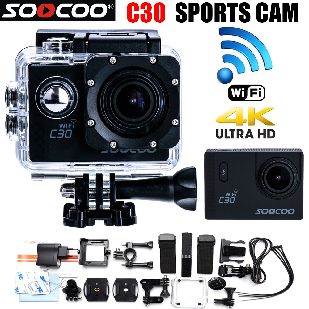 Mini HD Action Camera SOOCOO C30 Wifi 4K 24FPS 1440P 2.0LCD 170 degree adjustable Lens Waterproof Outdoor Diving Action Cam DVR soocoo c30 sports action camera wifi 4k gyro 2 0 lcd ntk96660 30m waterproof adjustable viewing angles