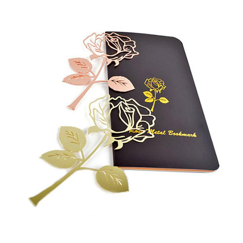 1 Pcs Lovely Beautiful Rose Flower Hollow Metal Bookmarks Rose Gold Paper Clips For Books Marker Page Holder Stationery