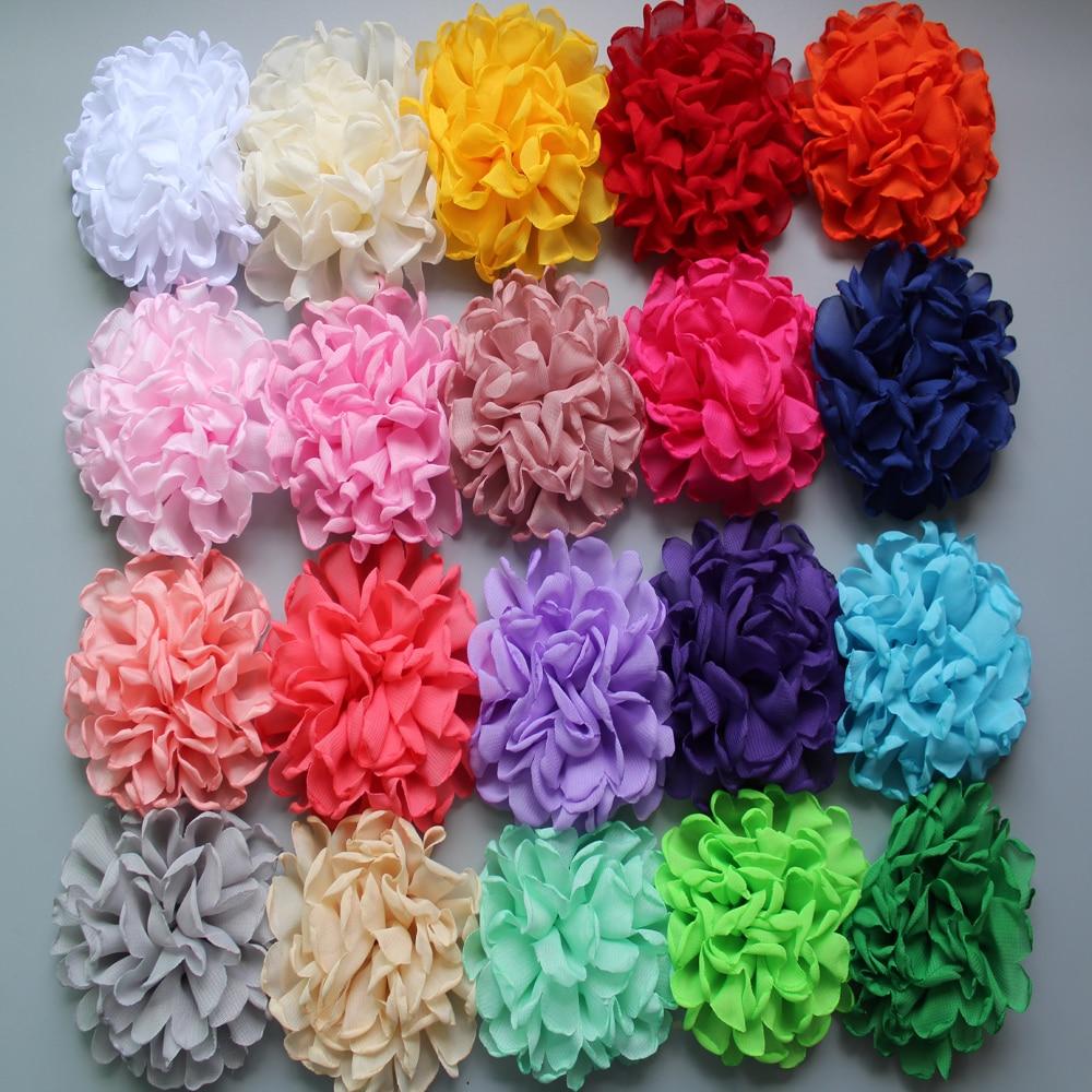 20pcs/lot 4inch 24colors Vintage Burn Eage Chiffon Flowers Fs